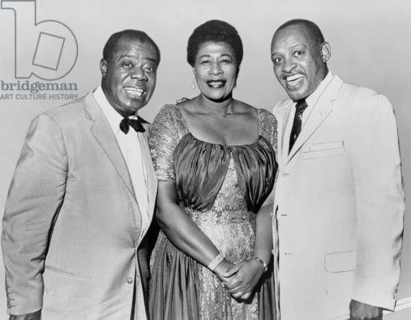 Louis Armstrong, Ella Fitzgerald and Lionel Hampton, c.1965 (b/w photo)