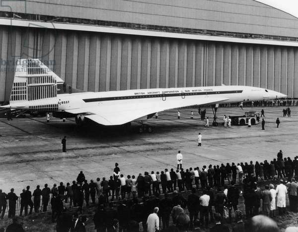 First Public Display of Famous French Plane Concorde September 13, 1968 (b/w photo)