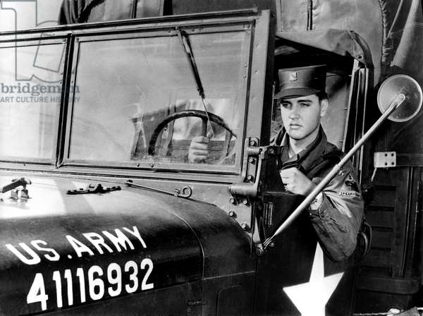 Elvis Presley during Military Duty in Us Army in Germany in 1958 (b/w photo)