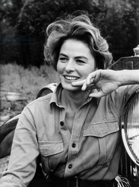 Ingrid Bergman on Set of Film The Yellow Rolls-Royce August 16, 1964 (b/w photo)