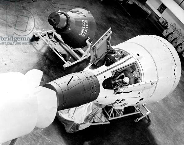 Gemini 3 Space Capsule Which Will Take on Board Astronauts Virgil Gus Grissom and John Young For Three Rotations Flight Around The Earth March 23, 1965 (Gemini Project) (b/w photo)