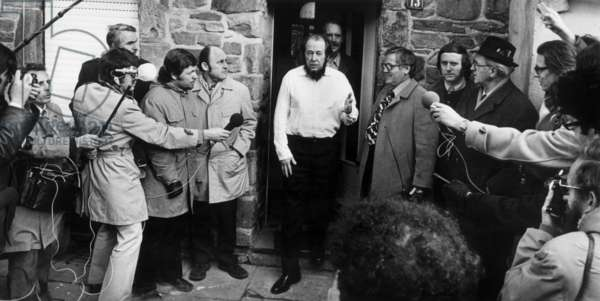 Exiled Russian Author Alexander Solzhenitsyn (1918-2008) and German Writer Heinrich Boll Talking To Journalists, Cologne, West Germany, February 1974 (b/w photo)