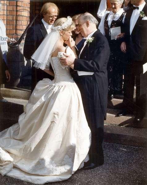 Wedding of Linn Bergman in Oslo here With her Father Ingmar Bergman 1989 (photo)