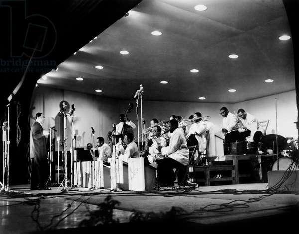 Duke Ellington and Hisn Orchestra on Stage in 1956 (b/w photo)