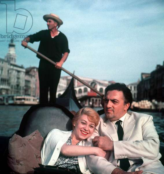Federico Fellini and his Wife Giulietta Masina in Venice during Festival in 1954 (photo)