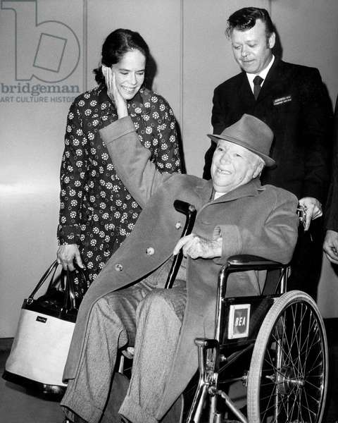 Charlie Chaplin With his 4Th Wife Oona May 21, 1973 (b/w photo)