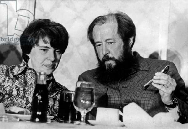 Alexander Solzhenitsyn (1918-2008) and his second wife Natalia Svetlova during a Press Conference in United States during which he denounced the Soviet system, July 1975 (b/w photo)