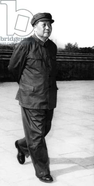 Mao Zedong (1893-1976) Chinese Communist Dictator, here in 1967 (b/w photo)