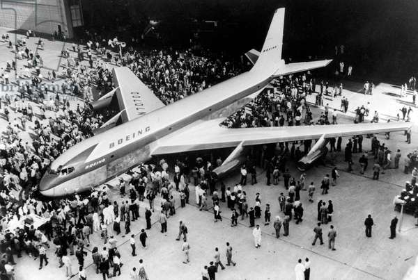 Thousands of Boeing Company Employees Surrounding The First American Jet Plane Boeing 707 Stratotanker, 1957 (b/w photo)