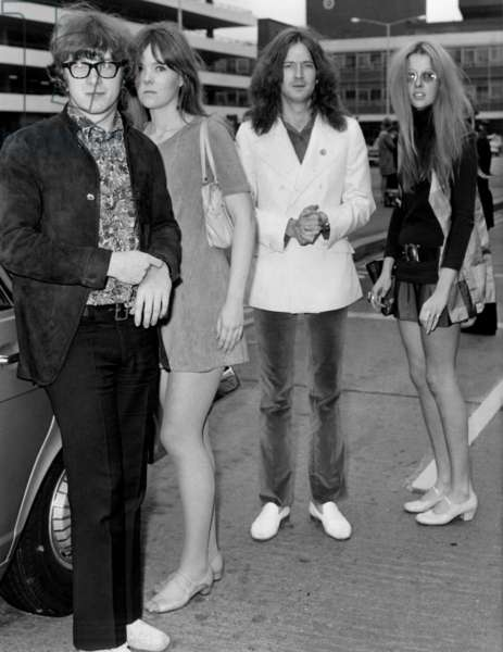 Peter Asher with girlfriend, and Eric Clapton girlfriend, model Charlotte Martin (R), June 19, 1968 (b/w photo)