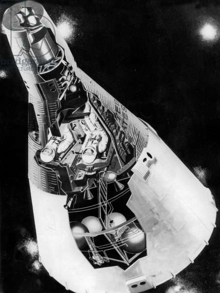 Drawing of The Gemini Space Capsule Designed To Accomodate Two Men 1965 (Gemini Project) (b/w photo)