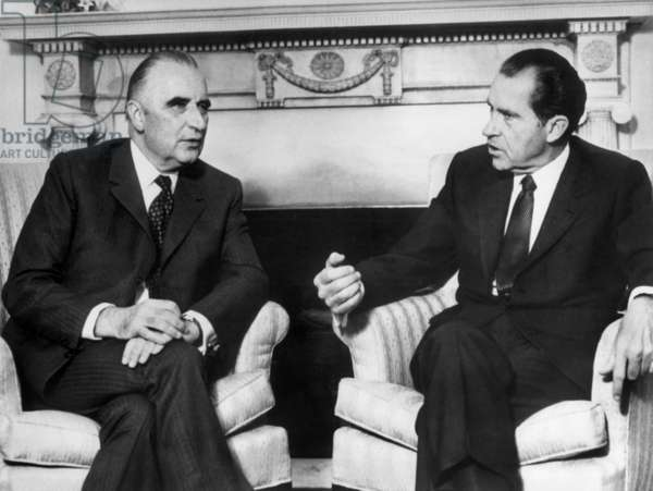 Georges Pompidou, French President, and Richard Nixon, American President, at The Azores December 13, 1971 (b/w photo)