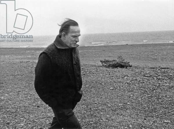 Swedish Director Ingmar Bergman (1918-2007) on A Beach on Faro Island, December 1971 (b/w photo)