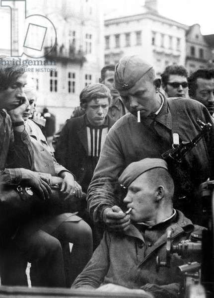 The Prague Spring : Soviet Invasion of Czechoslovakia : Soviet Soldiers Among Czech People August 28, 1968 (b/w photo)