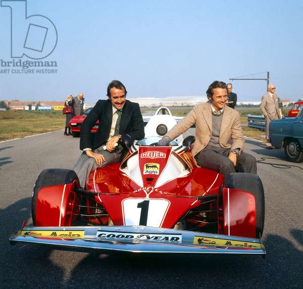 Niki Lauda and Clay Regazzoni at Presentation of The New Ferrari Racing Car October 30, 1975 (photo)