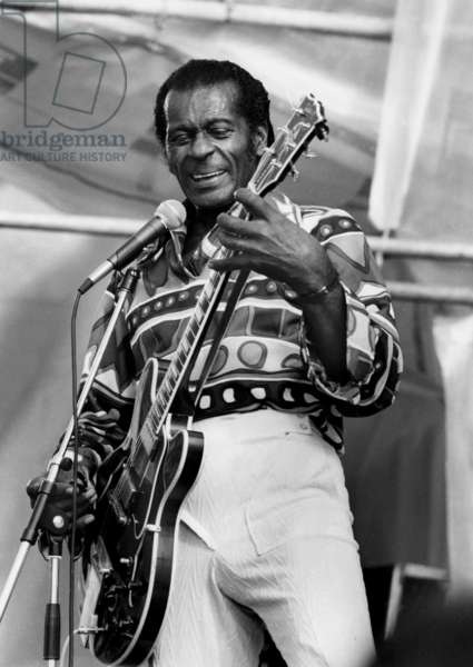 Chuck Berry on Stage For his 64Th-Birthday, here in South Finland July 22, 1990 (b/w photo)