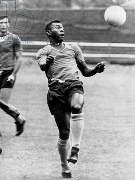 Brazilian Footballer Edson Arantes Do Nascimento Aka Pele here on March 27, 1971 (b/w photo)