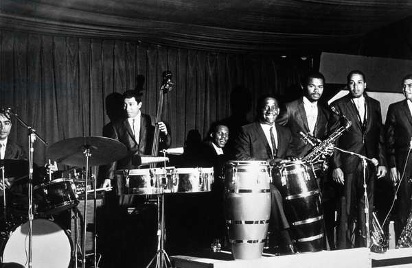 Mongo Santamaria (1922-2003), Afro-Cuban Latin Jazz Percussionist (With his Congas), here With his Jazz Band and John Coltrane (2Nd From R) at Time of Afro Blue, 1961 (b/w photo)