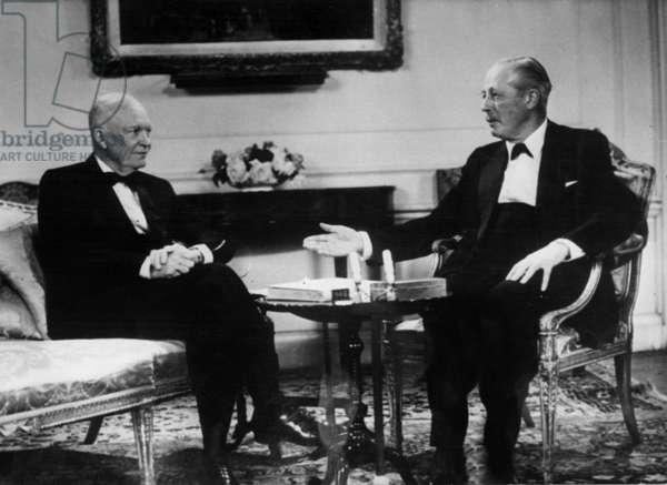 The American President Eisenhower (L, Dwight David Eisenhower) and Harold Mac Millan (British Prime Minister) at The British Television Show, September 31, 1959 (b/w photo)