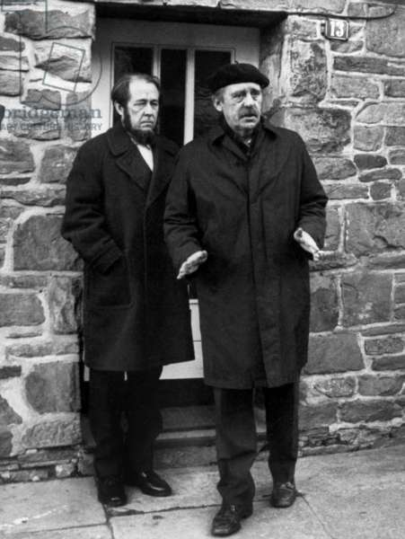 Exiled Russian Author Alexander Solzhenitsyn (1918-2008) here Greeted By German Writer Heinrich Boll, Cologne, West Germany 1974 (b/w photo)
