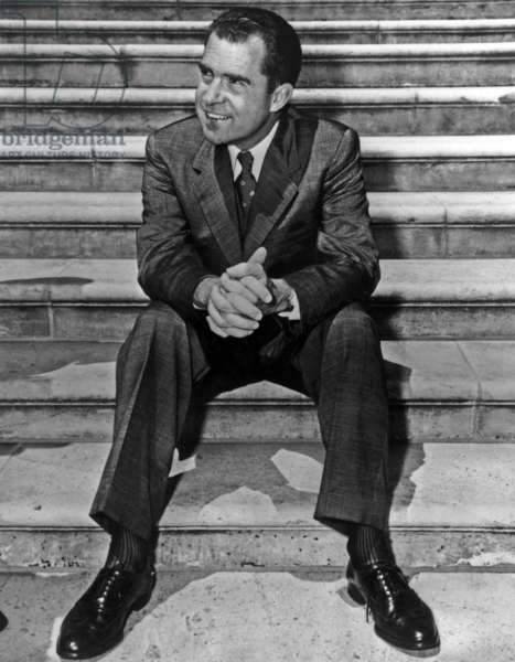 Richard Nixon (1913-1994) American Vice-President here on The Stairs of The Senate in 1956 (b/w photo)