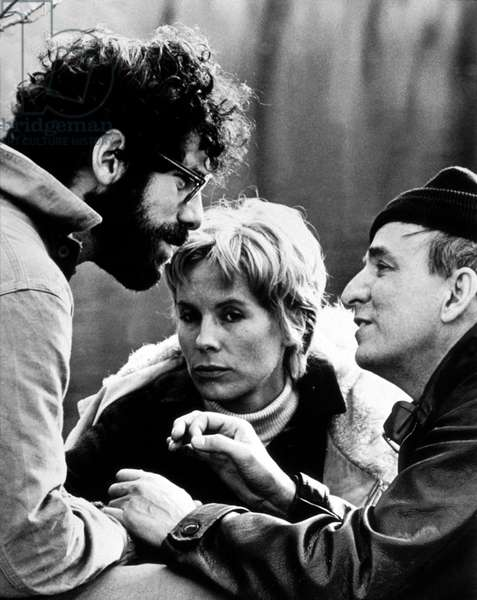 Director Ingmar Bergman (R) Directing Elliott Gould and Bibi Andersson on Set of Film The Touch 1970 (b/w photo)