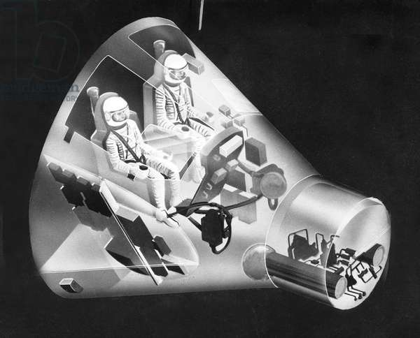 Drawing of The Gemini Space Capsule Designed To Accomodate Two Men For Long Flights in Space 1963 (Gemini Project) (b/w photo)
