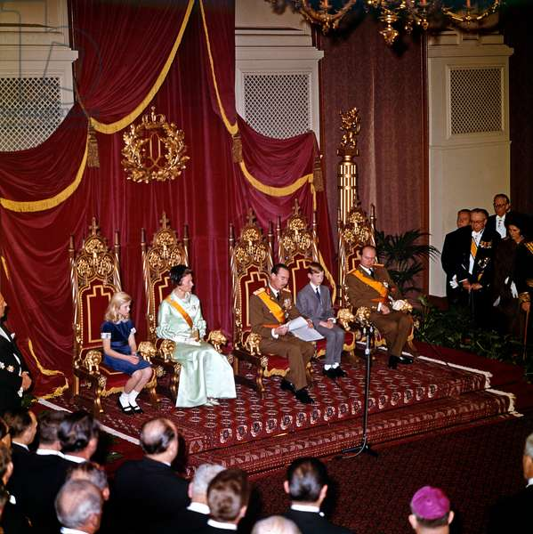 After abdication of his mother Grand Duchess Charlotte of Luxembourg, prince Jean become Grand Duke of Luxembourg on November 14, 1964 : l-r : princess Marie Astrid (daughter of Jean and Josephine Charlotte), new Grand Duchess Josephine Charlotte of Luxembourg, new Grand Duke Jean of Luxembourg, prince Henri (son of Jean and Josephine-Charlotte) and prince Charles (brother of Jean) (photo)