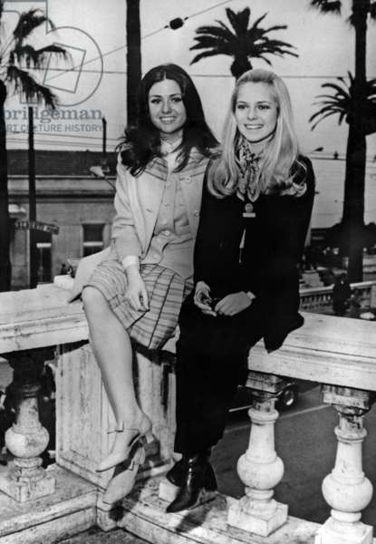 France Gall (Right) With Italian Gigliola Cinquetti In San Remo During Italian Song Festival January 30, 1969 (b/w photo)