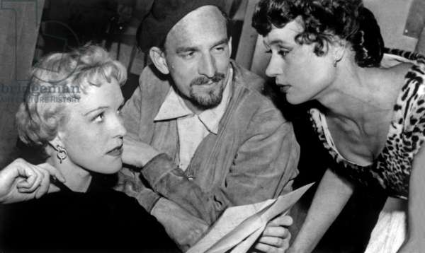 Ingmar Bergman With Eva Dahlbeck and Harriet Andersson on Set of Film Dreams May 25, 1954 (b/w photo)