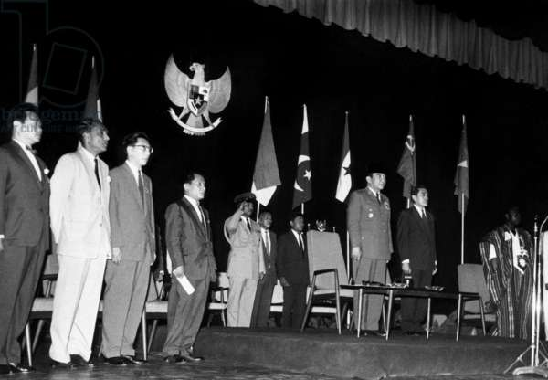Achmed Sukarno, Indonesian President (3Rd From R) With Representatives of 9 Countries For The Preparation of The Games of The Emergent Forces at Indonesia Hotel on April 27, 1963 (b/w photo)