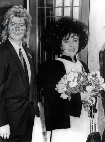 Wedding of Elizabeth Liz Taylor and Larry Fortensky in 1991 (b/w photo)