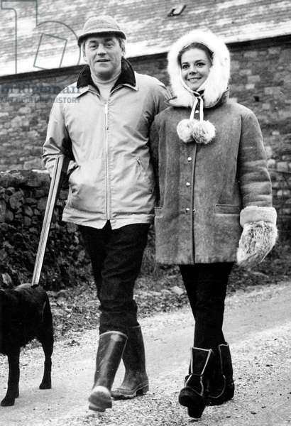 Natalie Wood With her Future 2Nd Husband Richard Gregson during Winter Vacations in Scotland January 3, 1967 (b/w photo)