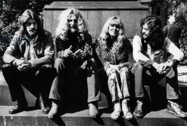 The English Rock Group Led Zeppelin In 1970: With Here John Bonham (Drummer), Robert Plant (Singer), And Jimmy Page (Guitarist) (b/w photo)