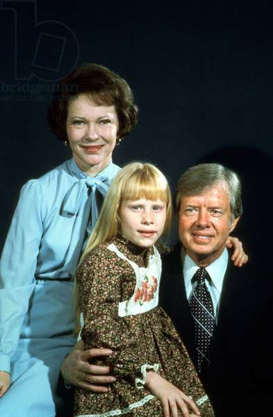 Jimmy Carter, American President in 1977-1981 With his Wife Rosalynn Smith and Their Daughter Amy, 1977 (photo)