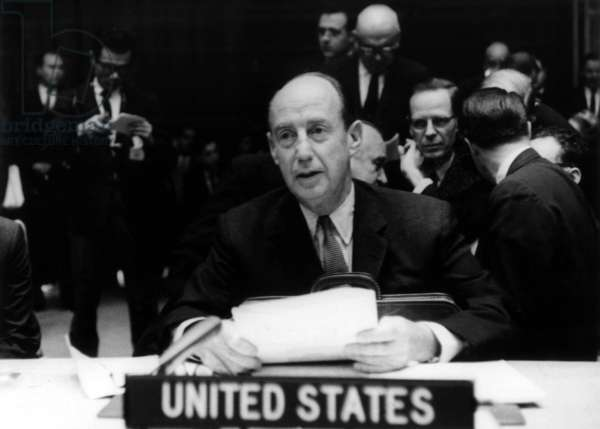 Adlai Stevenson, American Representative To The United Nations, here at The Security Council during The Cuban Missile Crisis October 24, 1962 (b/w photo)