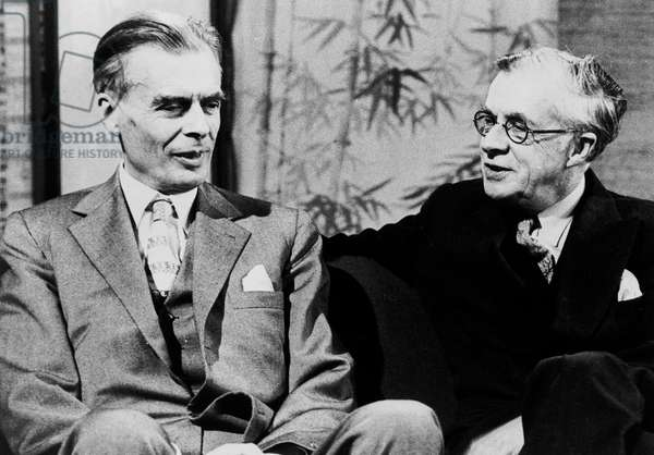 Aldous Huxley and his brother Julian Huxley on the English TV programme Brain Trust, October 28, 1958 (b/w photo)