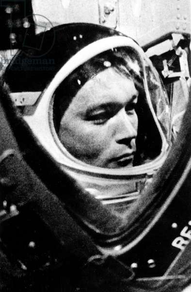 American Astronaut Michael Collin March 27, 1969 during Training For Apollo 11 Mission To The Moon (b/w photo)