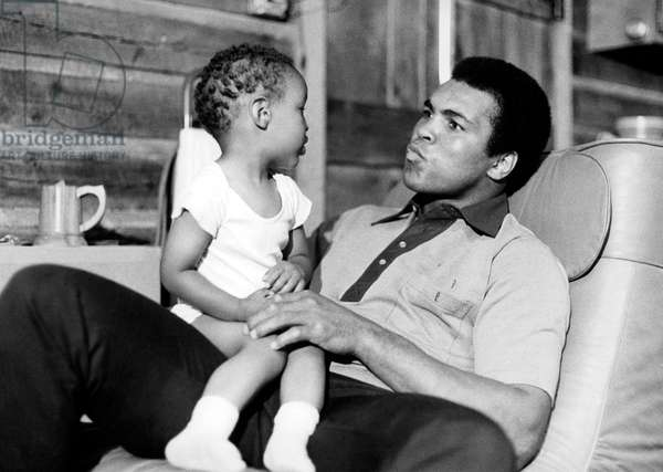 Mohammed Ali (Cassius Clay) With his Son Muhammad Ali Jr in Deer Park, Pennsylvania 1973 (b/w photo)