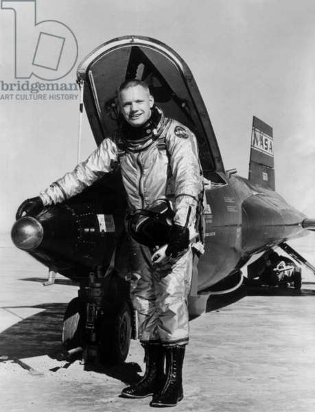Pilot Neil Armstrong Is Seen here Next To The X-15 Ship #1 (56-6670) After A Research Flight, 01-01-60 (b/w photo)