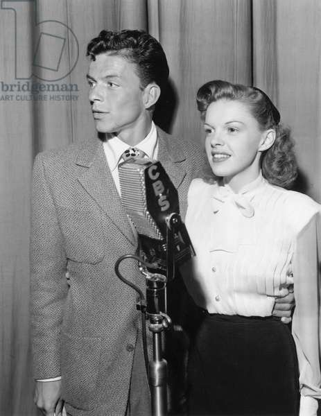 Frank Sinatra and Judy Garland during The Frank Sinatra Show May 24, 1944 Micro Cbs (b/w photo)
