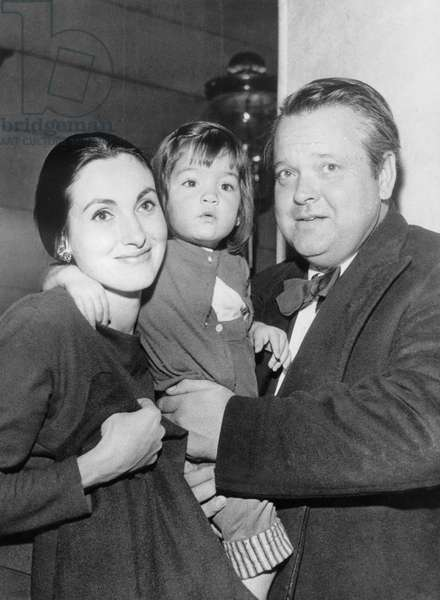 Orson Welles, With 3Rd Wife, Paola Mori, and Their Daughter, Beatrice Welles,C. 1958 (b/w photo)