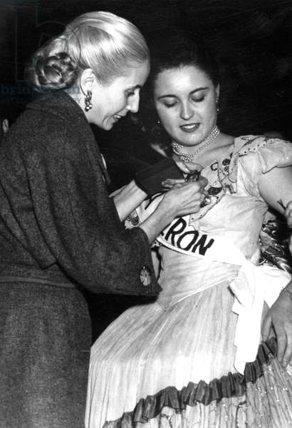 Eva Evita Peron (1919-1952) in Argentina on May 1St, 1952 Giving Award To Queen of Workers Miss Edna Calicia  (b/w photo)