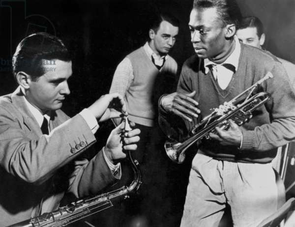 Miles Davis (1926-1991) American Composer and Jazz Trumpet Player, and Stan Getz Saxophonist in 1951 (b/w photo)
