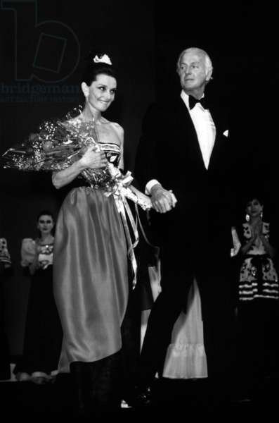 Audrey Hepburn and Couturier Hubert De Givenchy at Presentation of his Collection in Tokyo on May 9, 1983 (b/w photo)