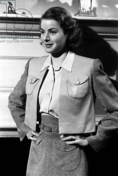 Actress Ingrid Bergman on Set of Film Intermezzo 1939 (b/w photo)