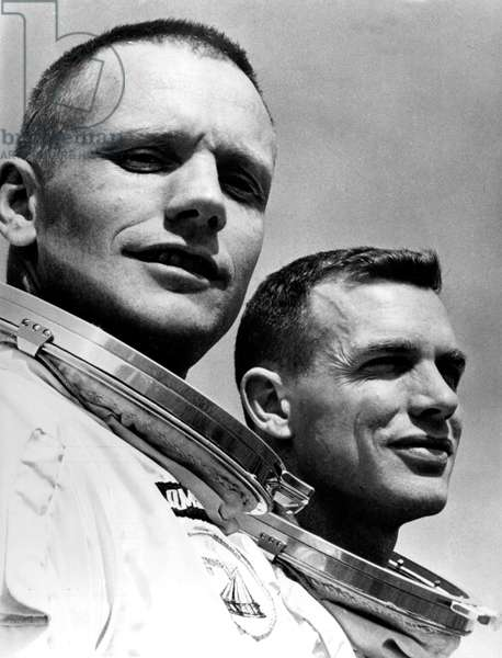 American Astronauts Neil Armstrong and David Scott at The Time of Gemini 8 Mission on March 16, 1966 Posing at Control Center of The Nasa in Cap Kennedy (Gemini Project) (b/w photo)