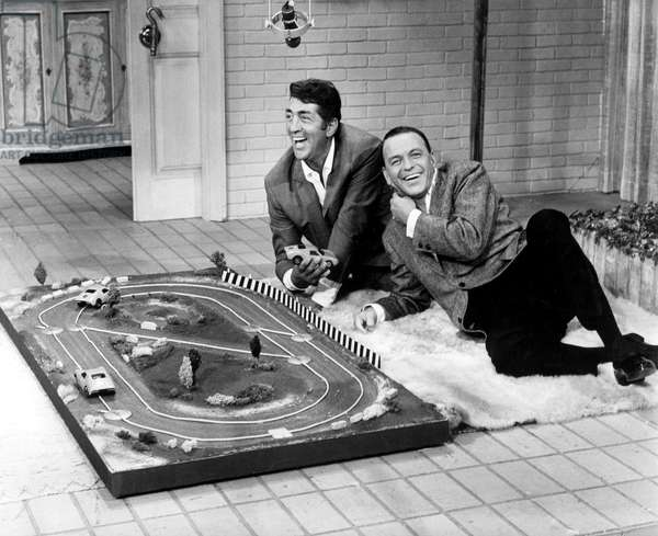 Frank Sinatra and Dean Martin Presenting Toy Circuit during TV Programme 60'S (At That Period They Formed With Peterlawford, Sammydavisjr and Joeybishop The Group The Rat Pack) (b/w photo)