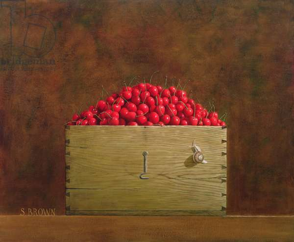 Snail and Cherries, 2002 (oil on canvas)