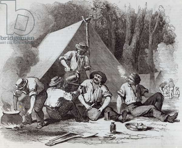 Mount Alexander gold-diggers at evening mess, from 'The Illustrated London News', 1852 (litho)
